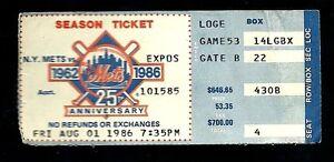 NY METS VS. EXPOS AUGUST 1 1986 GOODEN VS. 2 HOF RAINES DAWSON CHAMPIONSHIP YEAR