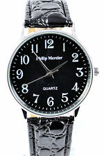 Philip Mercier Mens BIG NUMBER Watch, Black BIG Face, Black Faux Leather Strap