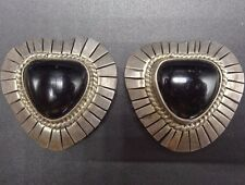 Vintage TAXCO Mexico Sterling Silver 925 Black Jet EARRINGS Heart Shaped CLIP-ON