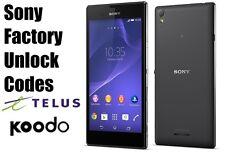 Telus/Koodo Sony Unlock Code  - Xperia Z,Ultra,ZL,Z1,Z2,Z3,SP,SL,J,M,M2,S,T3
