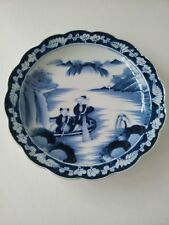 Antique Hand Painted Japanese Blue and White Porcelain Plate