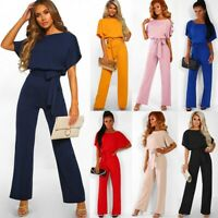 Damen Lang Overall Breites Bein Jumpsuit Romper Abend Party Hosenanzug Playsuit