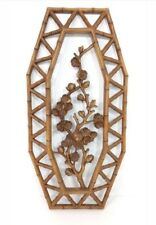Vintage Homco Wall Plaque #7412 Floral Cut-Out Flowers Faux Bamboo 1977 Brown