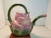 Ceramic Rose Shaped Watering Can, VTG. Hand Painted