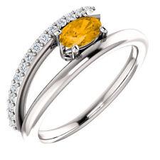 Citrine & 1/8 CTW Diamond Bypass Ring In Platinum