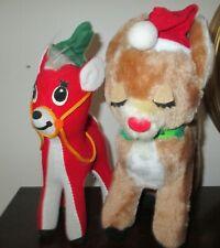 2 Stuffed Animals * Christmas Reindeer * 1974 Dakin