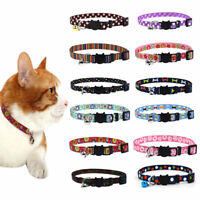 Small Pet Dog Cat Bell Nylon Collar Puppy Kitten Safety Buckle Neck Chain Grand