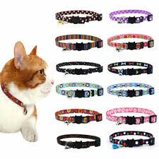 KE_ EB_ Small Pet Dog Cat Bell Nylon Collar Puppy Kitten Safety Buckle Neck Ch