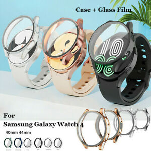 For Samsung Galaxy Watch4 40mm 44mm Cover Full Screen Bumper Case+Tempered Glass