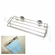 Stainless Steel Wire Towel Bar With Suction Cup Bath Shelf Wall Storage Silver