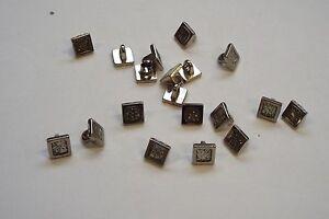 10pc 10mm Silver  Glitter Square Metal Blazer Coat Cardigan Knitwear Button 3732