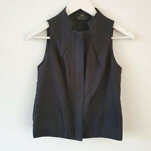 Cue Black Technical Fabric Crop Zip Up Vest 6 XS Work Business Minimal Goth
