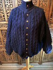 Hand Made Hand Loomed Navy Blue  Chucky Knit Cardigan Size L Over sized  (A2)