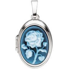 Medaillon oval 925 Sterling Silber 1 blaue Achatgemme zum Öffnen, Silberanhänger