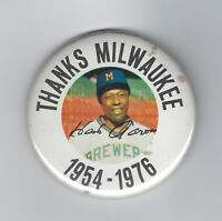 1976 Hank Aaron Brewers THANKS MILWAUKEE button pin original vintage HR KING
