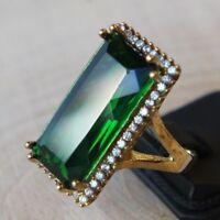 Turkish Handmade Sterling Silver 925 Jewelry Emerald Ladies Ring  6 7 8 9
