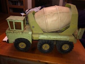 """Mighty Tonka Vintage Lime Green Cement Ready Mixer Tandem Axle Rare 1970's - 19"""""""
