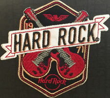 Hard Rock Cafe 2018 Crossed Guitars on Shield Black PATCH New w/Card Iron/Sew ON