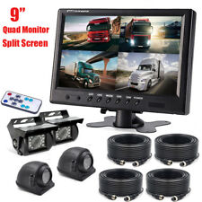 9'' Quad Split Side+Rear View Kit HD Monitor+4PIN Plug Camera For Truck Trailer