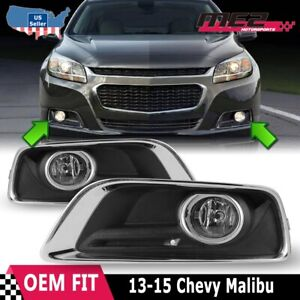 For 13-15 Chevy Malibu Factory Fit Fog Lights + Wiring Kit + Switch Clear Lens