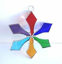 Lot of 10  Stained Glass Flat SNOWFLAKE  MULTI COLOR Christmas Ornaments !