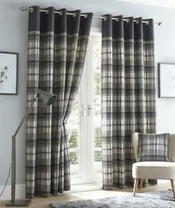 Grey curtains eyelet ring top lined curtains tartan check ready made