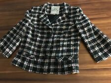 MILLY of New York  Wool Blend Tweed Plaid  Fitted 3/4 sleeves Jacket Size 8