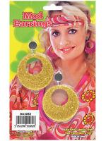 60s 70s Hippy Hippie Gold Glitter Mod Clip-On Earrings Fancy Dress Accessory New