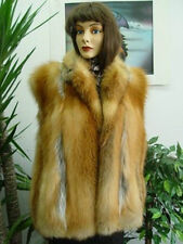 ~BRAND NEW NATURAL PLAIN CANADIAN RED FOX FUR VEST JACKET COAT WOMEN WOMAN SZALL