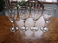 Wine Etched Gold Trim - Set of 4