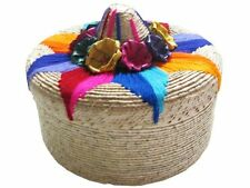 #395 Tortilla Basket Warmer Palm Colorful Embroidery Artisan Mexico Assorted New