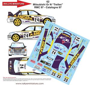 Decals 1/18 Ref 62 Mitsubishi Lancer Trelles Rally Mounted Carlo 1997 Rally WRC