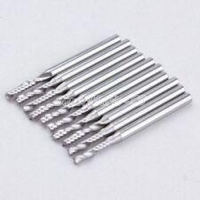10x 1/8'' High Quality Carbide One Single Flute Spiral Bit 3.175 x 2.5 x 12mm