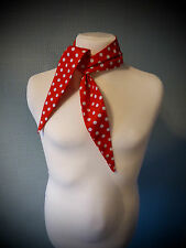 Red and white polka dot rockabilly scarf 50's retro vintage style, white spots