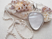"""Vintage Sterling Mother of Pearl Pendant 20"""" Chain Necklace  27921"""
