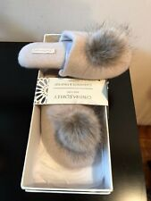 NEW  Cynthia Rowley 100% Cashmere Ballets Slippers Beige Suede Sole Size S
