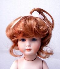 """Monique Doll Wig """"Cindy"""" Size 8-9 Auburn - Toddler w/ Top Pigtail & Ribbon Cute"""