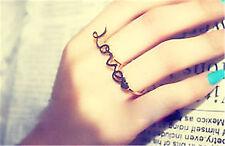 Gold Tone Amor Y Corazón Doble anillo de dedo UK Size M O