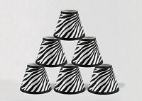 "Urbanest Mini Chandelier Lamp Shades 6-inch,Hardback,Zebra,3""x6""x5"",Set of 6"
