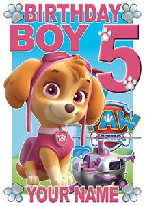 Paw Patrol Birthday Boy Skye Personalised Boys T-Shirt Age 5 Gift/Present