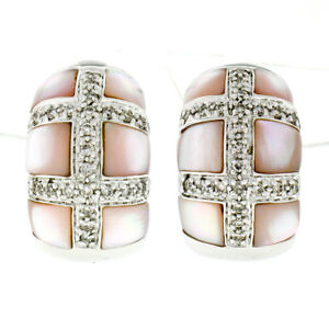 14k White Gold 0.50ctw Pink Mother of Pearl Pave Diamond Checker Huggie Earrings