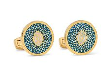 Cartier Cufflinks Gold Turquoise Blue Men's Jewelry NEW