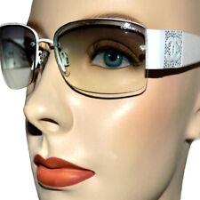 Chanel Crystal Studded Logo CC Milky White Frame Sunglasses 4117-8