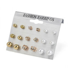 9 Pairs/Pack Women Rhinestone Crystal Pearl Earring Ear Stud Charm Jewelry Gifts