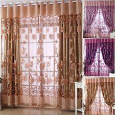 1Pc Morning Glory Bedroom Window Voile Cortina Jacquard Curtain Drape 100*250CM