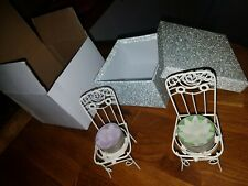 X2 Candle and Name Tag Holder Mini Vintage Chair Wedding/Anniversary/Party/Gifts