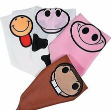 New 12 Pieces Farm Animal Bandanas Halloween Costume Party Pig Cow Rooster Horse