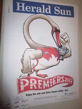2012 Sydney Swans official/original Herald Sun Premiership poster : Unframed