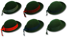 Ladies / Girls Green Bowler Style Felt Hat With Coloured Band - School Uniform