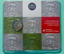 "FRANCE 2012 2 EUROS COMMEMORATIVE   COINCARD "" ABBE PIERRE ""  BU   SUPERBE"